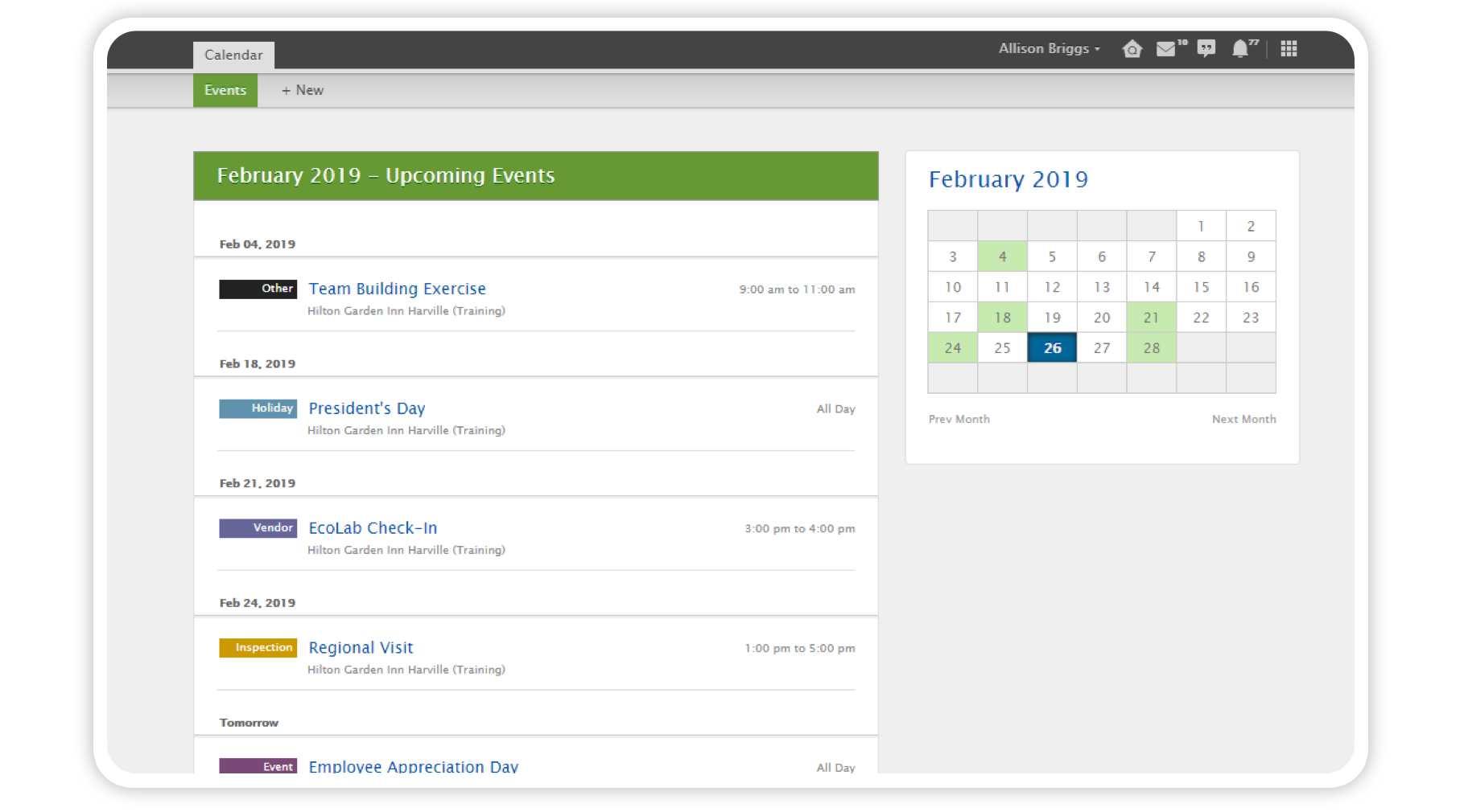 Quore desktop Calendar application with view of upcoming events and monthly overview.